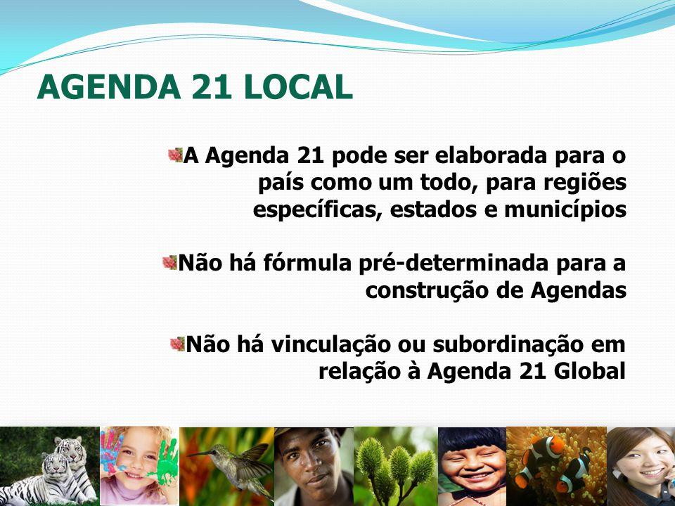 AGENDA 21 LOCAL A Agenda 21 pode ser elaborada para o país como um todo, para regiões específicas, estados e municípios Não há fórmula pré-determinada