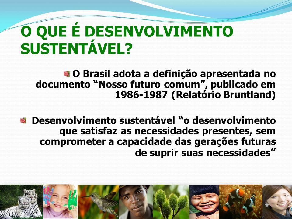 O QUE É DESENVOLVIMENTO SUSTENTÁVEL? O Brasil adota a definição apresentada no documento Nosso futuro comum, publicado em 1986-1987 (Relatório Bruntla