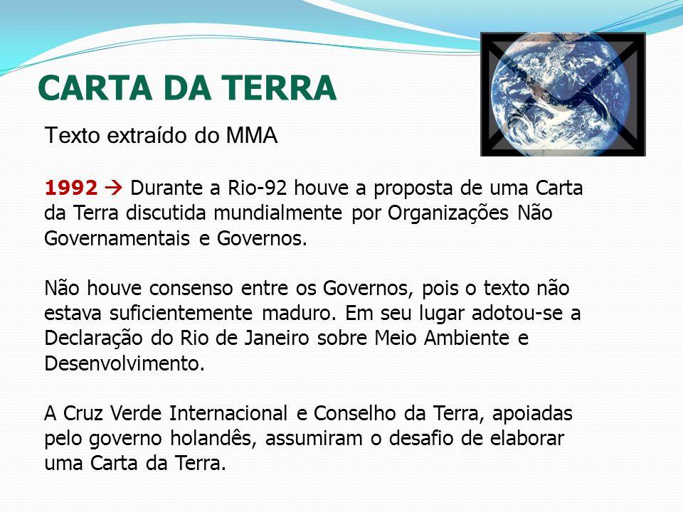 1992 Durante a Rio-92 houve a proposta de uma Carta da Terra discutida mundialmente por Organizações Não Governamentais e Governos. Não houve consenso