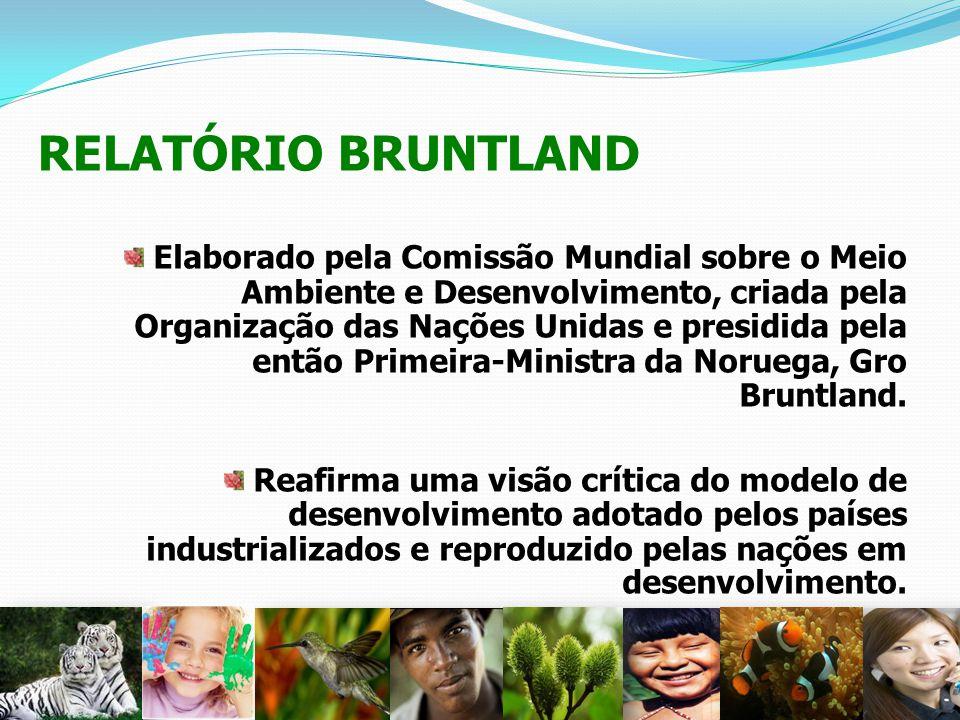RELATÓRIO BRUNTLAND Elaborado pela Comissão Mundial sobre o Meio Ambiente e Desenvolvimento, criada pela Organização das Nações Unidas e presidida pel