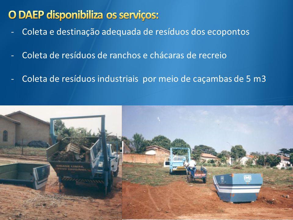 -Coleta e destinação adequada de resíduos dos ecopontos -Coleta de resíduos de ranchos e chácaras de recreio -Coleta de resíduos industriais por meio