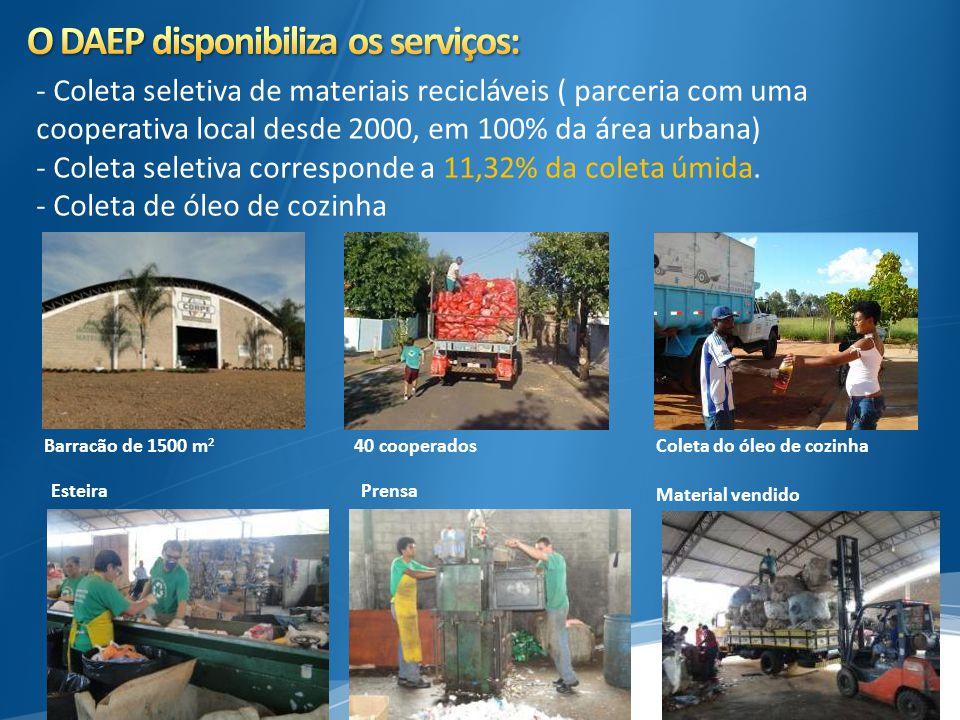 - Coleta seletiva de materiais recicláveis ( parceria com uma cooperativa local desde 2000, em 100% da área urbana) - Coleta seletiva corresponde a 11