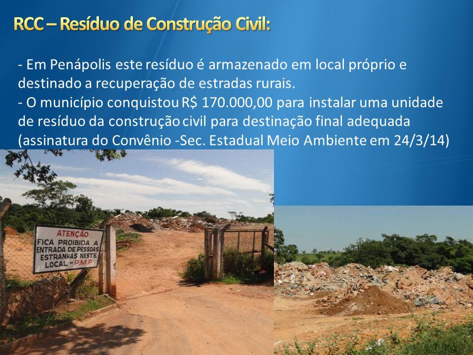- Em Penápolis este resíduo é armazenado em local próprio e destinado a recuperação de estradas rurais. - O município conquistou R$ 170.000,00 para in