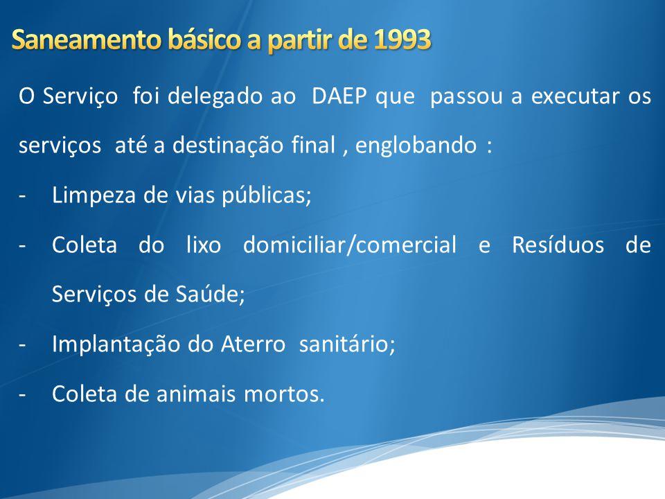 O Serviço foi delegado ao DAEP que passou a executar os serviços até a destinação final, englobando : -Limpeza de vias públicas; -Coleta do lixo domic