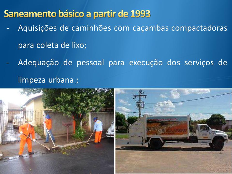 -Aquisições de caminhões com caçambas compactadoras para coleta de lixo; -Adequação de pessoal para execução dos serviços de limpeza urbana ;