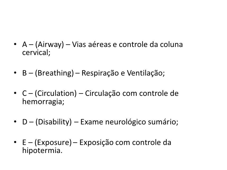 A – (Airway) – Vias aéreas e controle da coluna cervical; B – (Breathing) – Respiração e Ventilação; C – (Circulation) – Circulação com controle de he