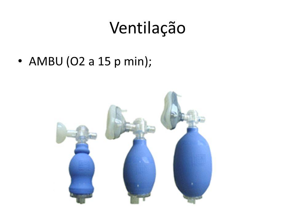 Ventilação AMBU (O2 a 15 p min);