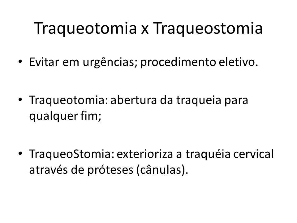 Traqueotomia x Traqueostomia Evitar em urgências; procedimento eletivo. Traqueotomia: abertura da traqueia para qualquer fim; TraqueoStomia: exteriori