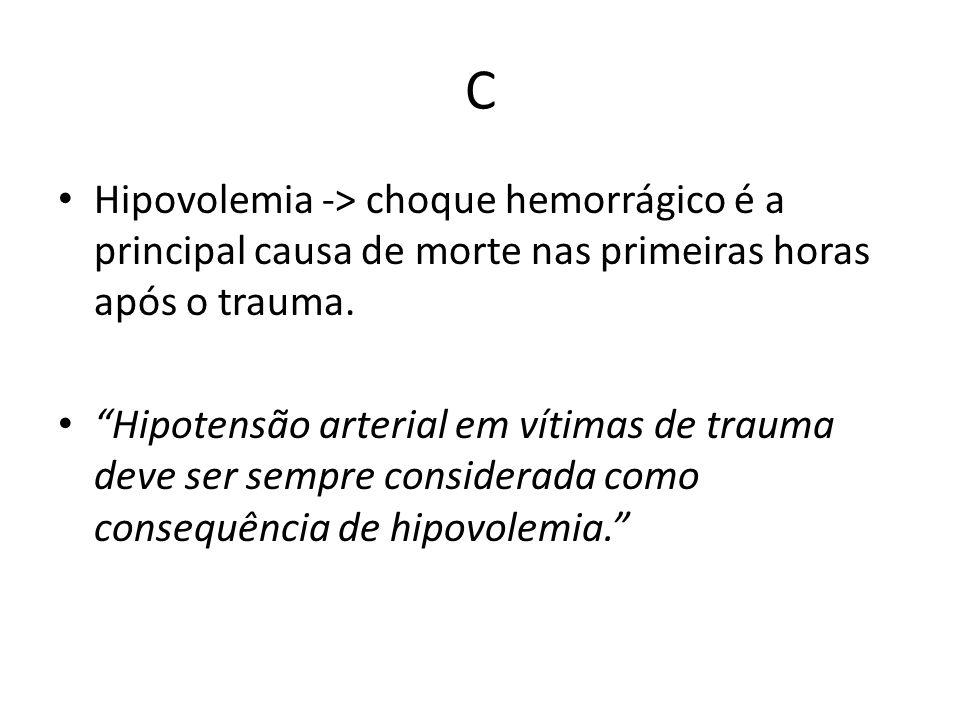 C Hipovolemia -> choque hemorrágico é a principal causa de morte nas primeiras horas após o trauma. Hipotensão arterial em vítimas de trauma deve ser