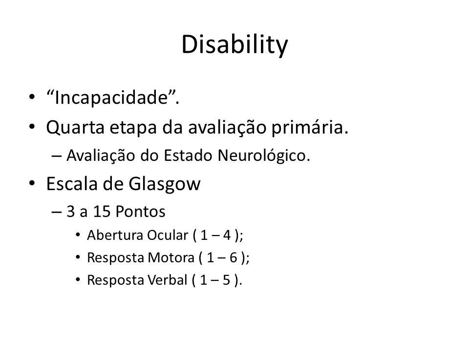 Disability Incapacidade. Quarta etapa da avaliação primária. – Avaliação do Estado Neurológico. Escala de Glasgow – 3 a 15 Pontos Abertura Ocular ( 1