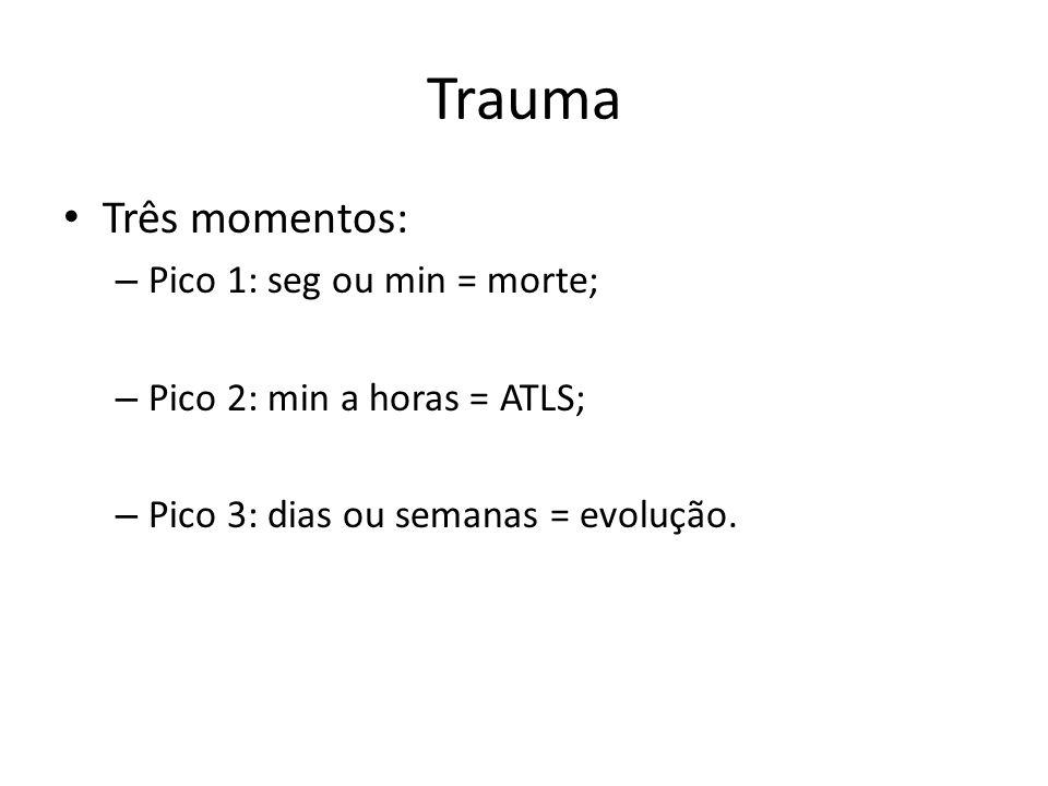 Trauma Três momentos: – Pico 1: seg ou min = morte; – Pico 2: min a horas = ATLS; – Pico 3: dias ou semanas = evolução.