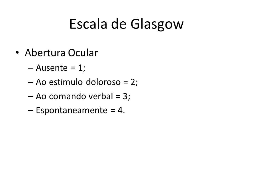 Escala de Glasgow Abertura Ocular – Ausente = 1; – Ao estimulo doloroso = 2; – Ao comando verbal = 3; – Espontaneamente = 4.