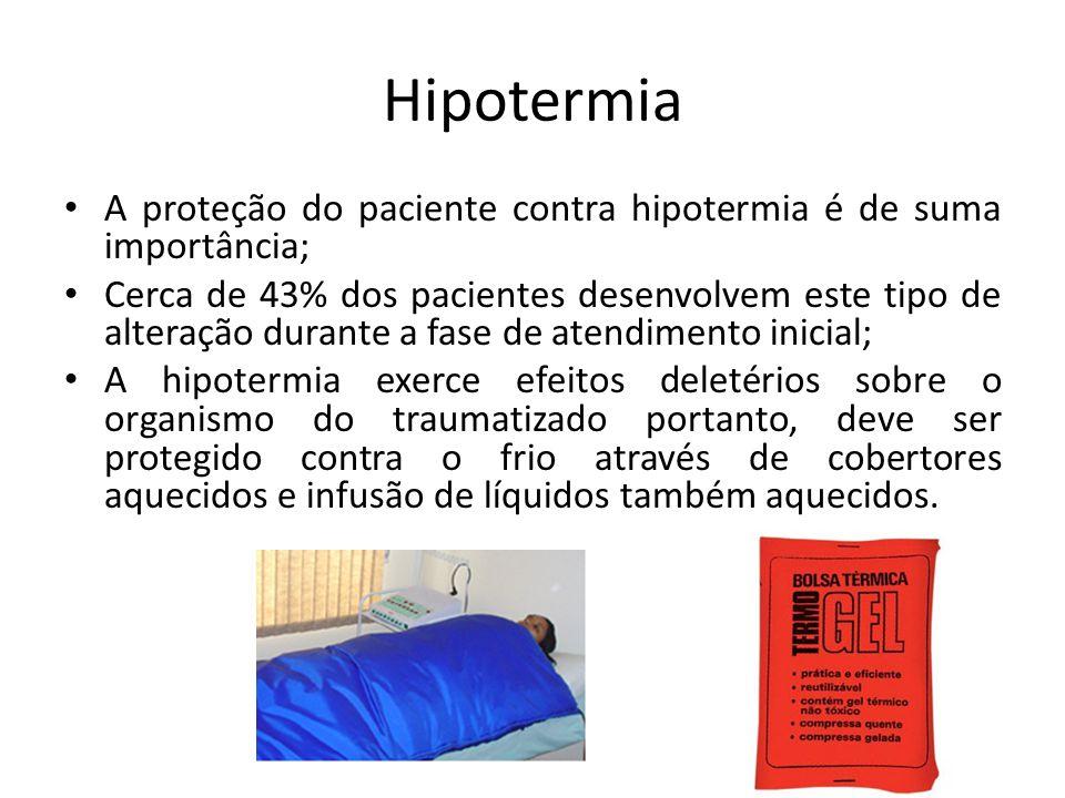 Hipotermia A proteção do paciente contra hipotermia é de suma importância; Cerca de 43% dos pacientes desenvolvem este tipo de alteração durante a fas