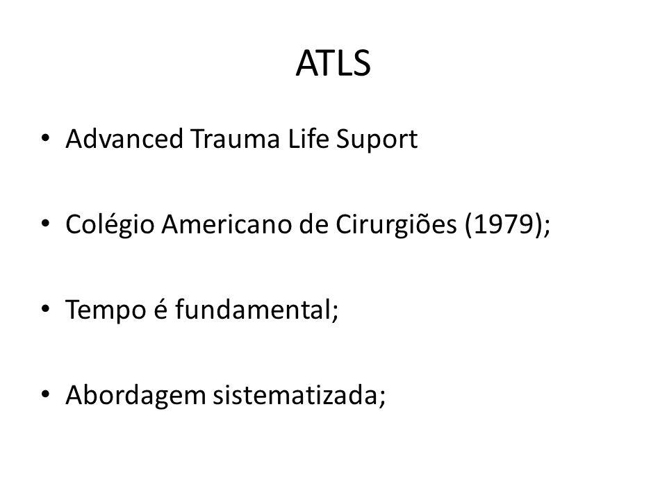ATLS Advanced Trauma Life Suport Colégio Americano de Cirurgiões (1979); Tempo é fundamental; Abordagem sistematizada;