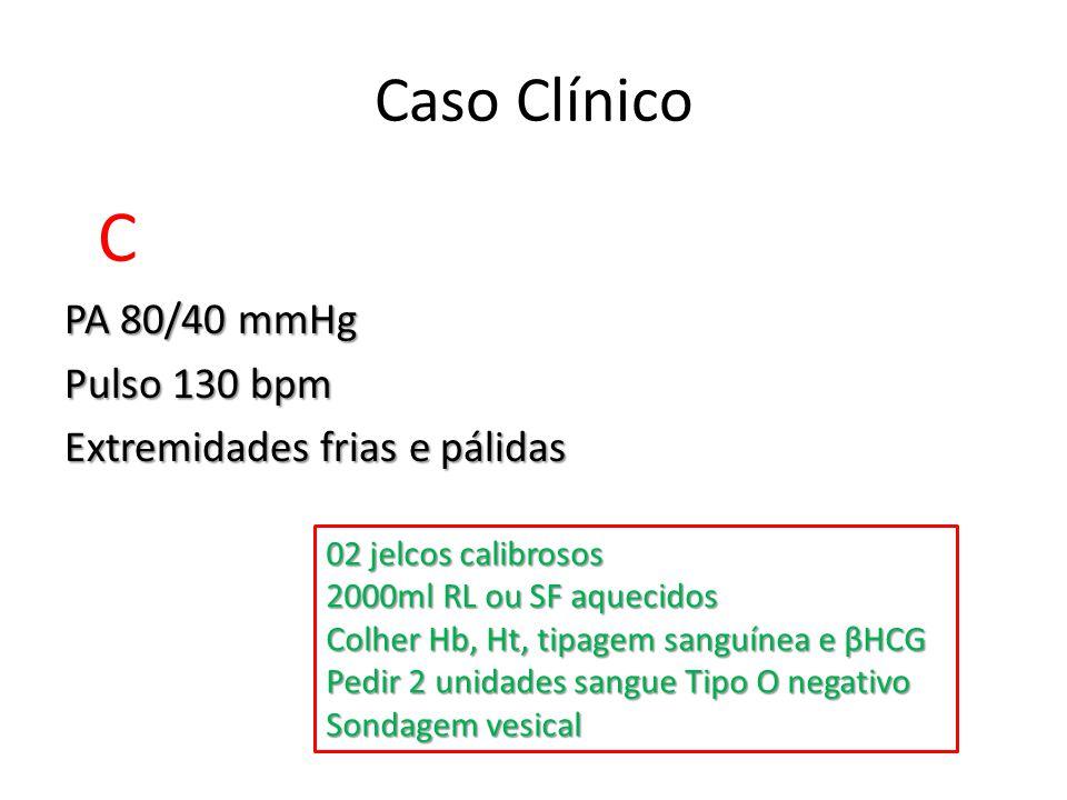 C PA 80/40 mmHg Pulso 130 bpm Extremidades frias e pálidas Caso Clínico 02 jelcos calibrosos 2000ml RL ou SF aquecidos Colher Hb, Ht, tipagem sanguíne