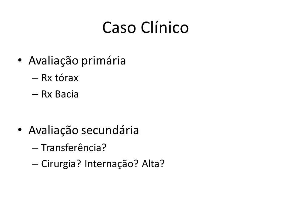 Caso Clínico Avaliação primária – Rx tórax – Rx Bacia Avaliação secundária – Transferência? – Cirurgia? Internação? Alta?