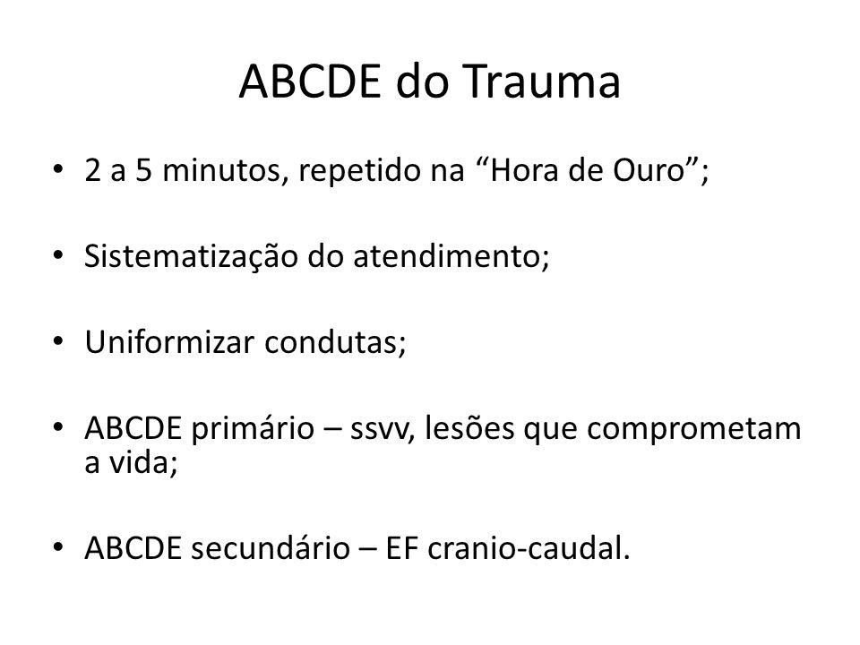 ABCDE do Trauma 2 a 5 minutos, repetido na Hora de Ouro; Sistematização do atendimento; Uniformizar condutas; ABCDE primário – ssvv, lesões que compro