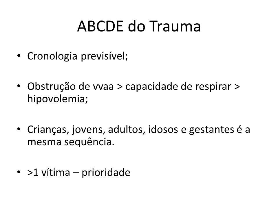 ABCDE do Trauma Cronologia previsível; Obstrução de vvaa > capacidade de respirar > hipovolemia; Crianças, jovens, adultos, idosos e gestantes é a mes