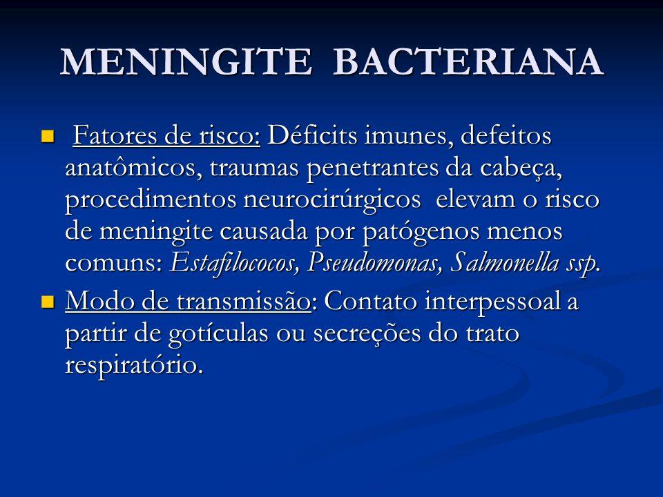 MENINGITE BACTERIANA Fatores de risco: Déficits imunes, defeitos anatômicos, traumas penetrantes da cabeça, procedimentos neurocirúrgicos elevam o risco de meningite causada por patógenos menos comuns: Estafilococos, Pseudomonas, Salmonella ssp.