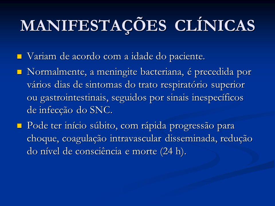 MANIFESTAÇÕES CLÍNICAS Variam de acordo com a idade do paciente.