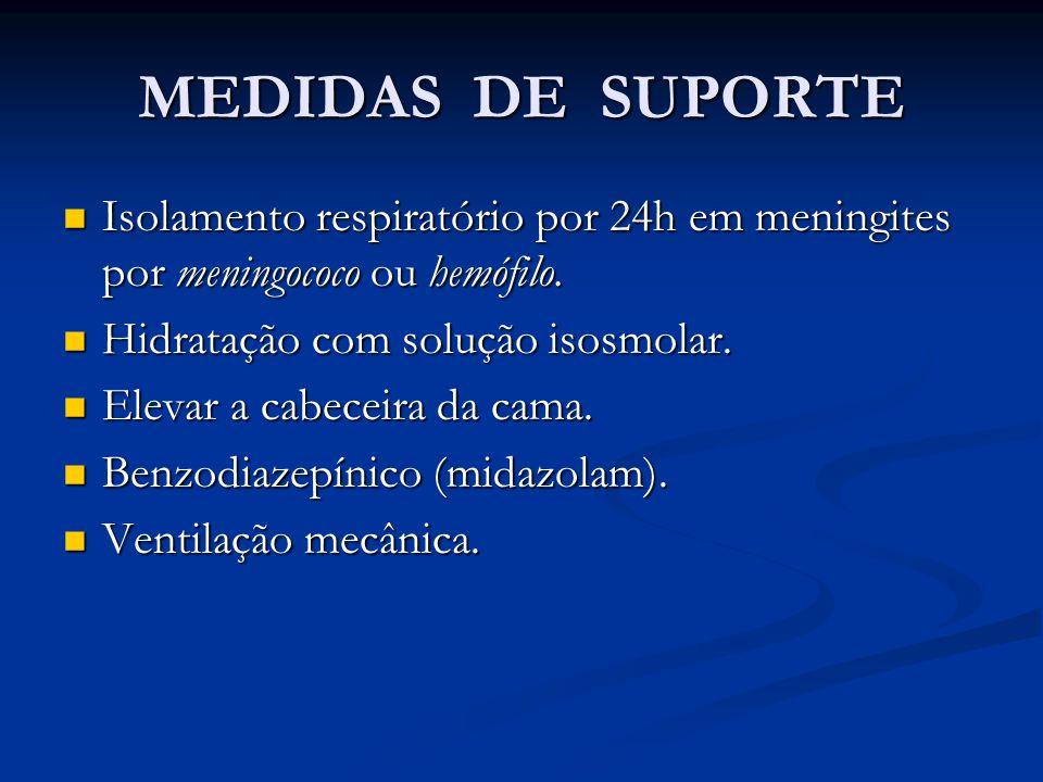 MEDIDAS DE SUPORTE Isolamento respiratório por 24h em meningites por meningococo ou hemófilo.