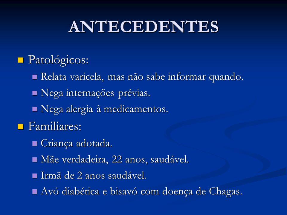 ANTECEDENTES Patológicos: Patológicos: Relata varicela, mas não sabe informar quando.