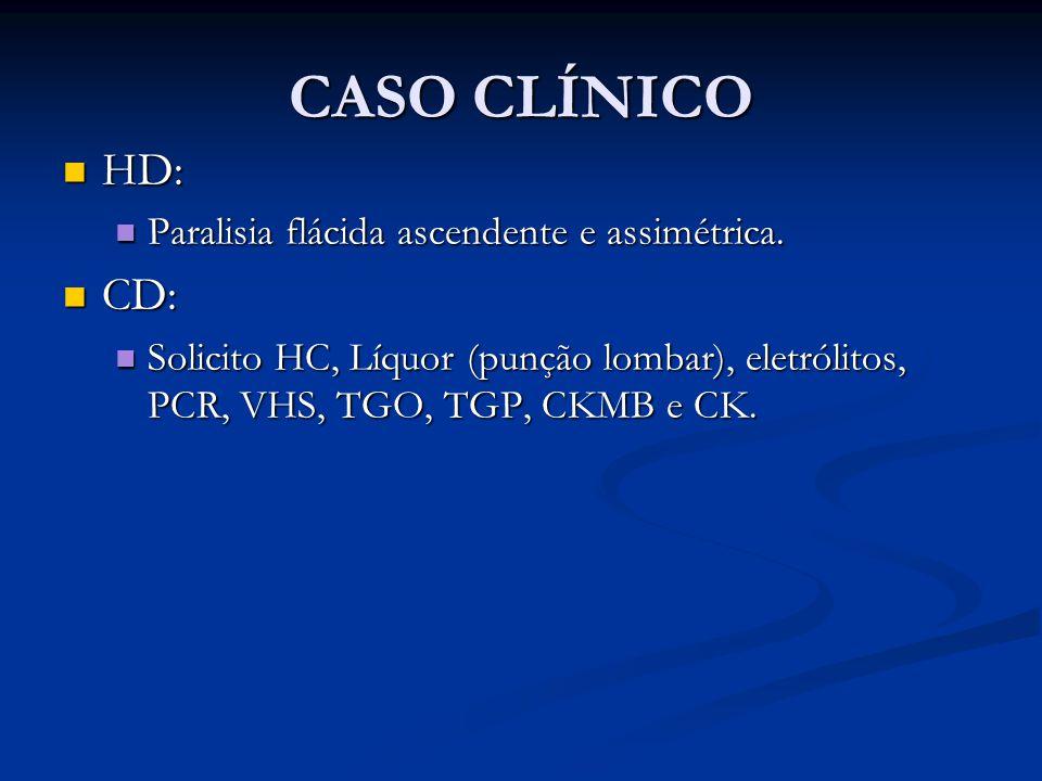 CASO CLÍNICO HD: HD: Paralisia flácida ascendente e assimétrica.