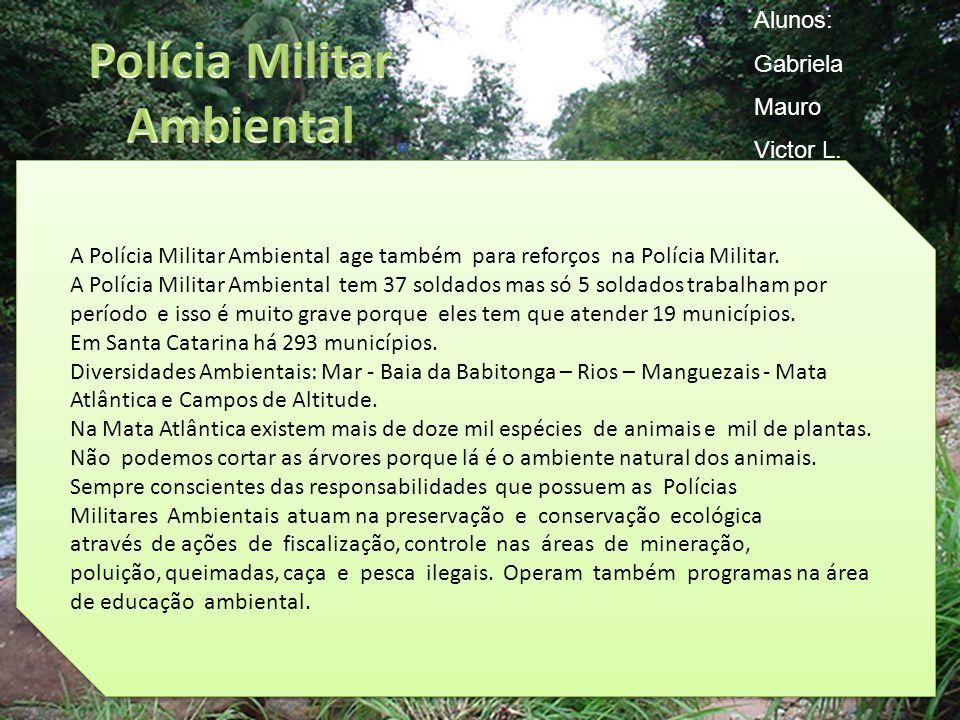 A Polícia Militar Ambiental age também para reforços na Polícia Militar. A Polícia Militar Ambiental tem 37 soldados mas só 5 soldados trabalham por p
