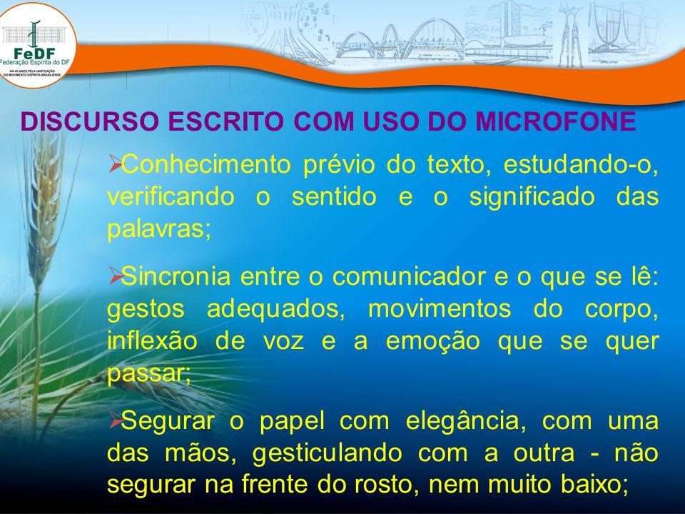 DISCURSO ESCRITO COM USO DO MICROFONE Conhecimento prévio do texto, estudando-o, verificando o sentido e o significado das palavras; Sincronia entre o