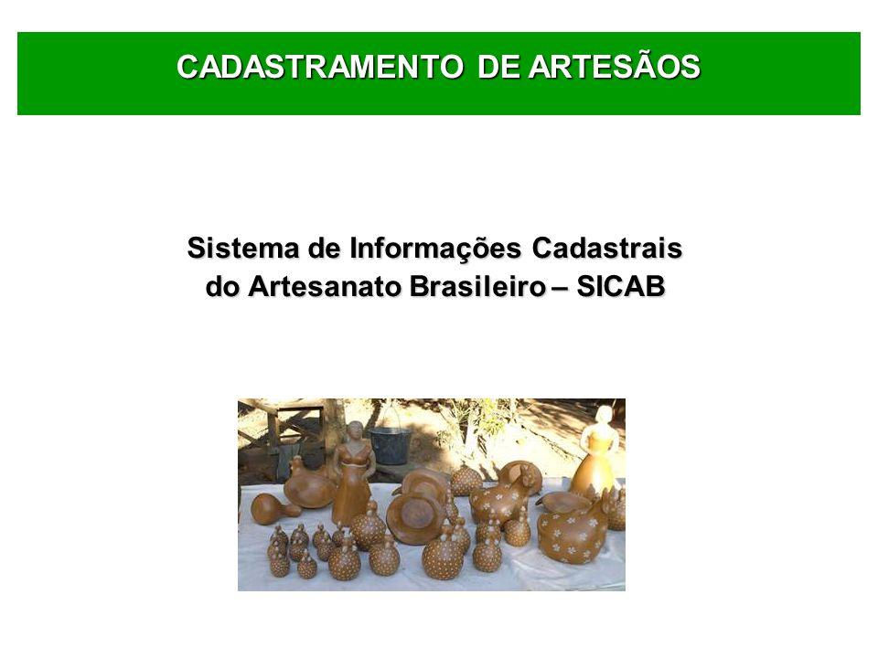 Sistema de Informações Cadastrais do Artesanato Brasileiro – SICAB CADASTRAMENTO DE ARTESÃOS