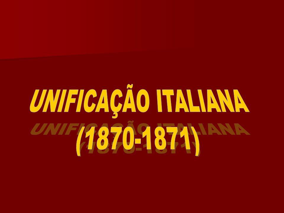 1850 Divisão da Itália em pequenos Estados a) Ao norte : REINO DO PIEMONTE - Sardenha reino Lombardo - Vêneto reino Lombardo - Vêneto b) Ao centro :Estados Pontificios Ducados de toscana,Parma,Módena Ducados de toscana,Parma,Módena c) Ao sul : Reino das Duas Sicílias O REINO DO PIEMONTE ( REI VITOR EMANUEL II ) O REINO DO PIEMONTE ( REI VITOR EMANUEL II ) Reino líder