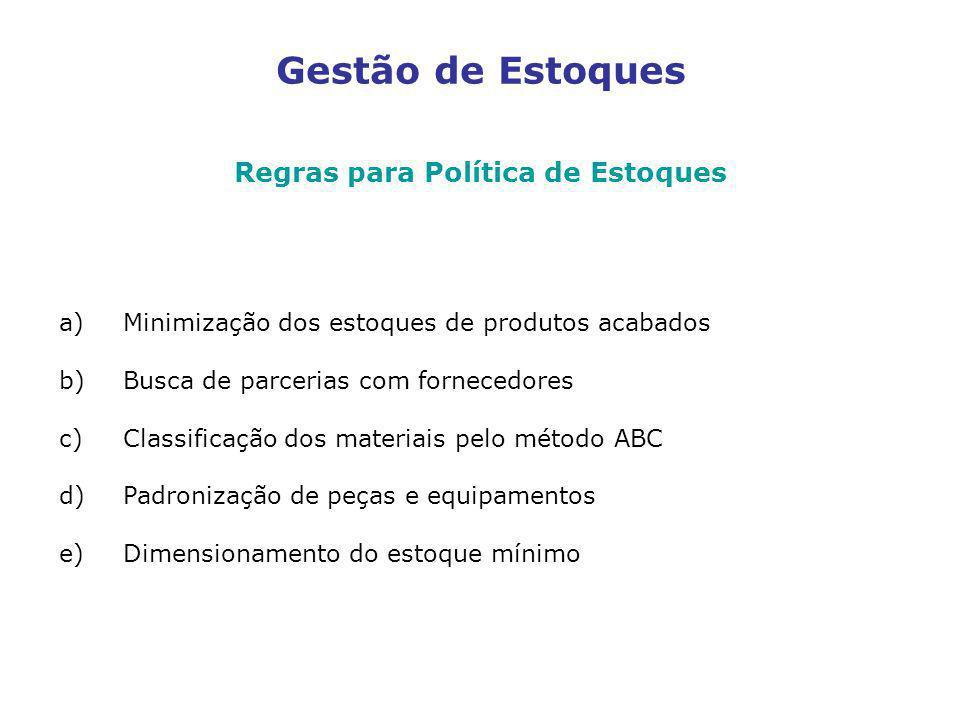 Gestão de Estoques Regras para Política de Estoques a)Minimização dos estoques de produtos acabados b)Busca de parcerias com fornecedores c)Classifica