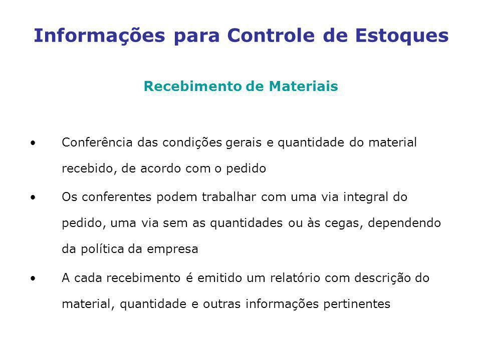 Recebimento de Materiais Conferência das condições gerais e quantidade do material recebido, de acordo com o pedido Os conferentes podem trabalhar com