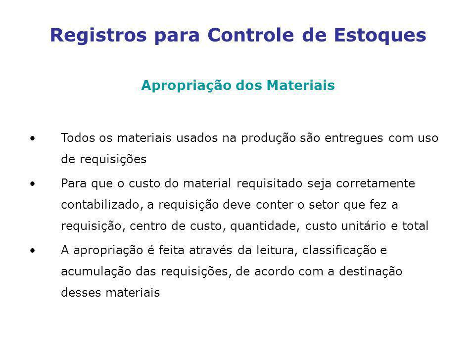 Apropriação dos Materiais Todos os materiais usados na produção são entregues com uso de requisições Para que o custo do material requisitado seja cor