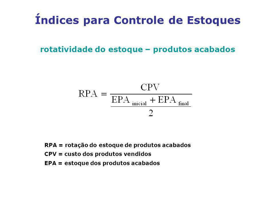 rotatividade do estoque – produtos acabados RPA = rotação do estoque de produtos acabados CPV = custo dos produtos vendidos EPA = estoque dos produtos