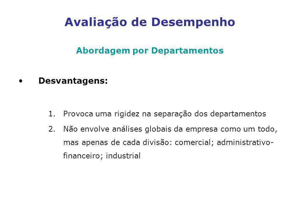 Avaliação de Desempenho Abordagem por Departamentos Desvantagens: 1.Provoca uma rigidez na separação dos departamentos 2.Não envolve análises globais