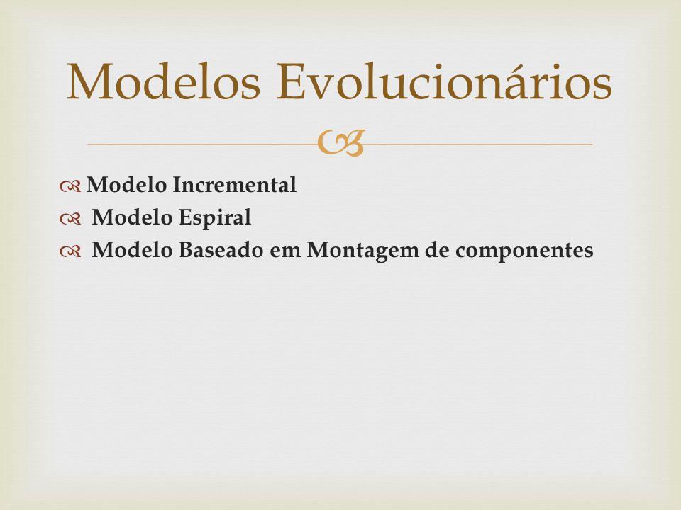 Modelo Incremental Modelo Espiral Modelo Baseado em Montagem de componentes Modelos Evolucionários