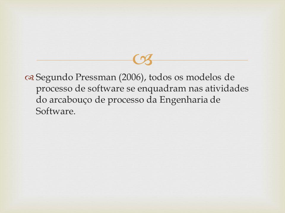 Segundo Pressman (2006), todos os modelos de processo de software se enquadram nas atividades do arcabouço de processo da Engenharia de Software.