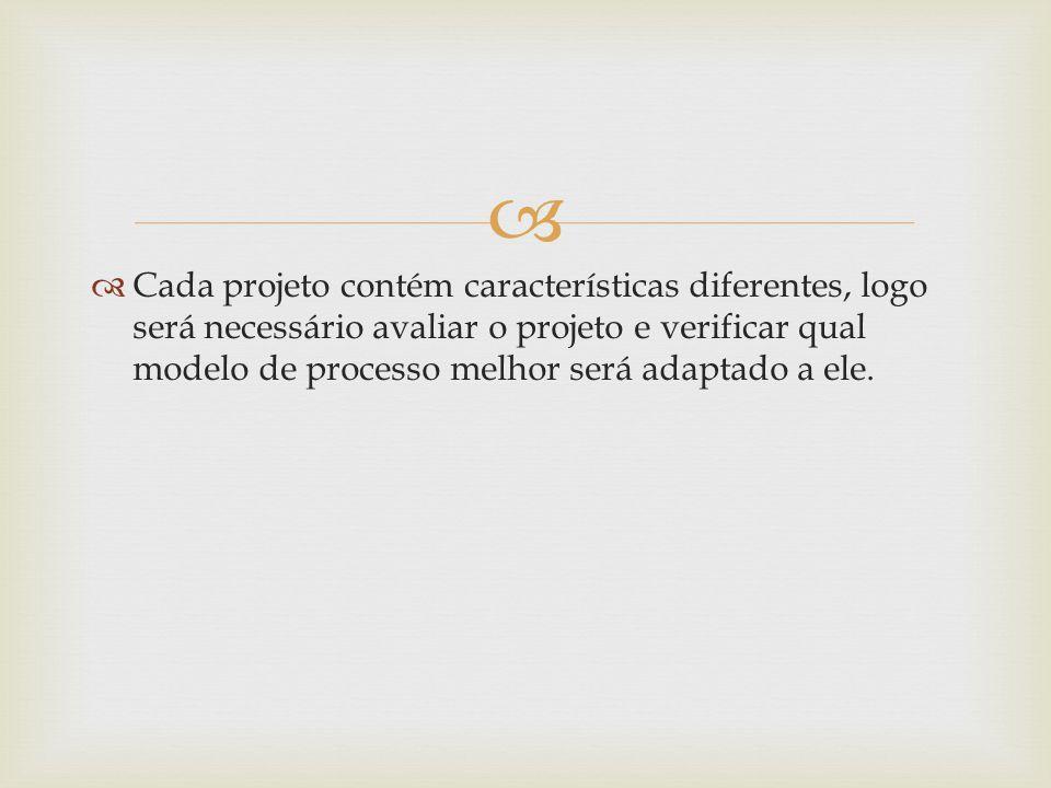 Cada projeto contém características diferentes, logo será necessário avaliar o projeto e verificar qual modelo de processo melhor será adaptado a ele.