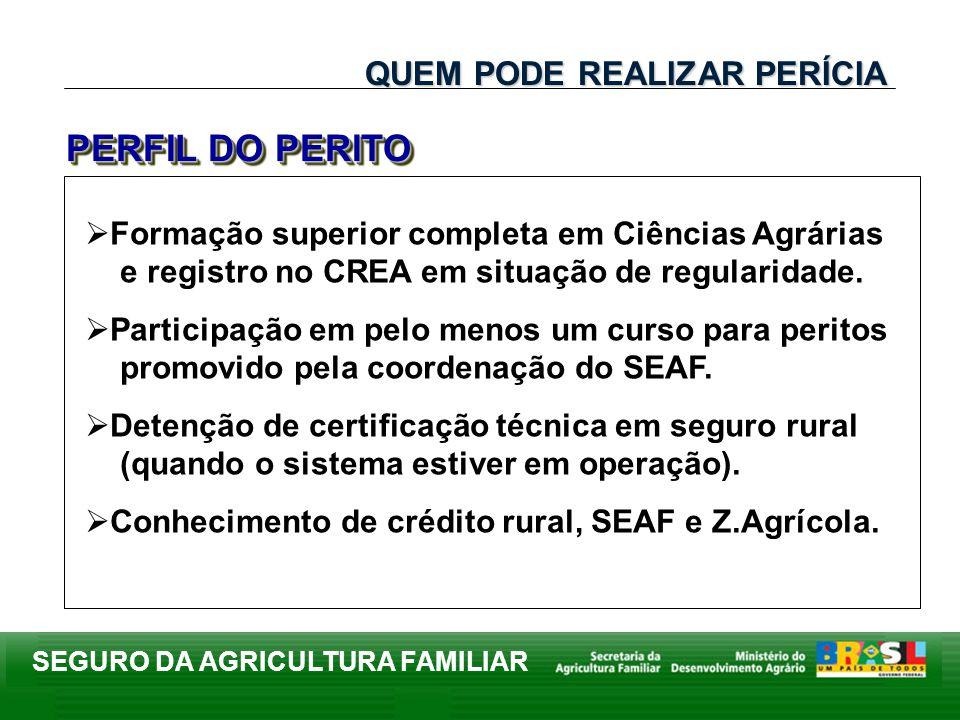SEGURO DA AGRICULTURA FAMILIAR Formação superior completa em Ciências Agrárias e registro no CREA em situação de regularidade. Participação em pelo me