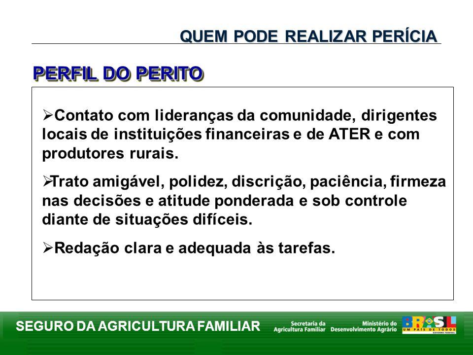SEGURO DA AGRICULTURA FAMILIAR Contato com lideranças da comunidade, dirigentes locais de instituições financeiras e de ATER e com produtores rurais.