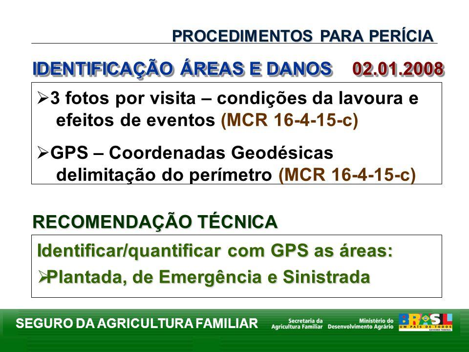 SEGURO DA AGRICULTURA FAMILIAR IDENTIFICAÇÃO ÁREAS E DANOS 02.01.2008 Identificar/quantificar com GPS as áreas: Plantada, de Emergência e Sinistrada P