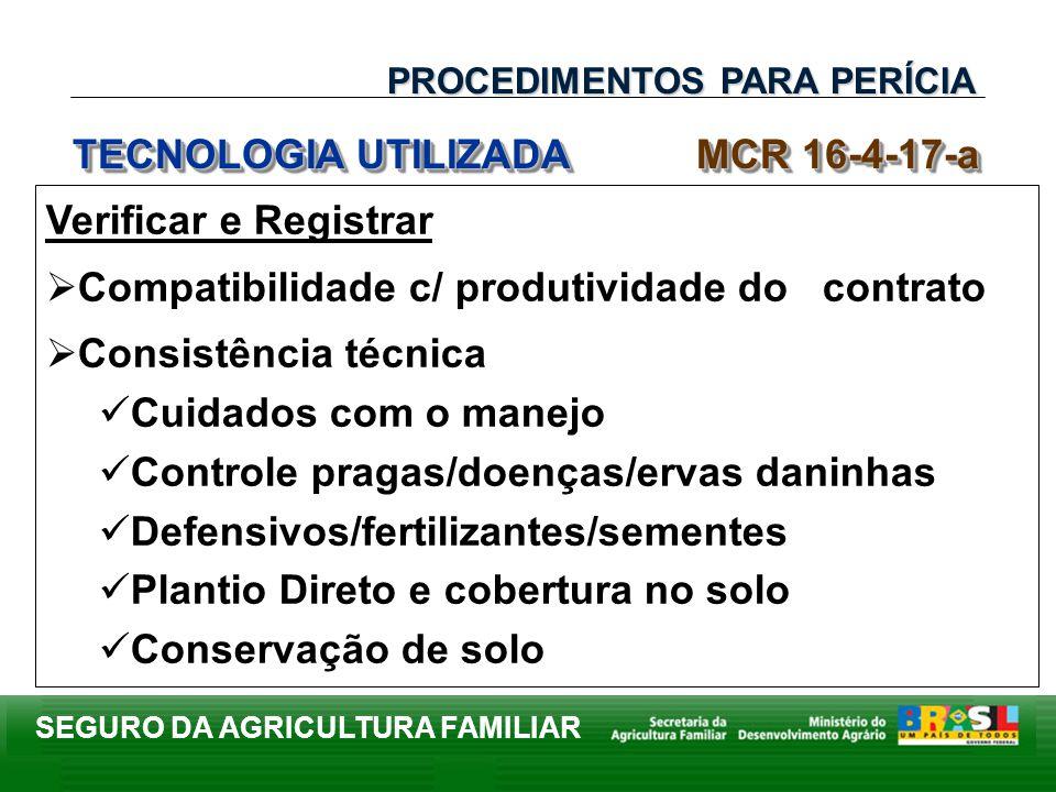 SEGURO DA AGRICULTURA FAMILIAR Verificar e Registrar Compatibilidade c/ produtividade do contrato Consistência técnica Cuidados com o manejo Controle