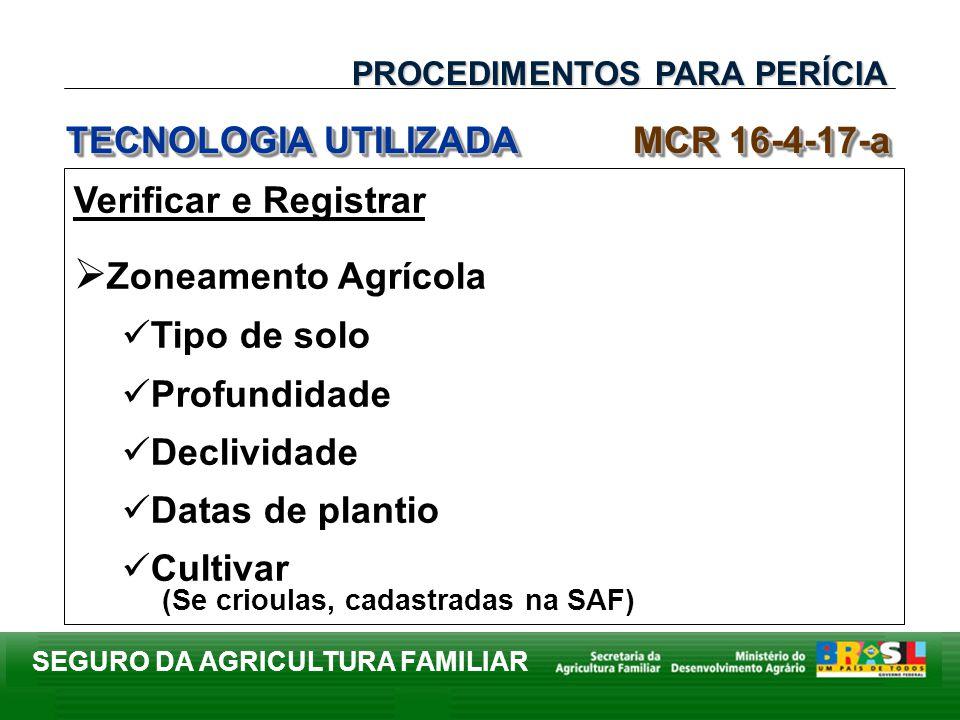SEGURO DA AGRICULTURA FAMILIAR Verificar e Registrar Zoneamento Agrícola Tipo de solo Profundidade Declividade Datas de plantio Cultivar (Se crioulas,