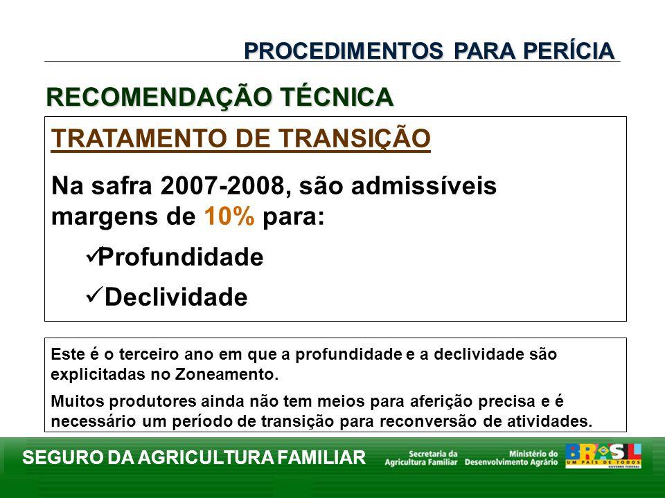 SEGURO DA AGRICULTURA FAMILIAR TRATAMENTO DE TRANSIÇÃO Na safra 2007-2008, são admissíveis margens de 10% para: Profundidade Declividade PROCEDIMENTOS