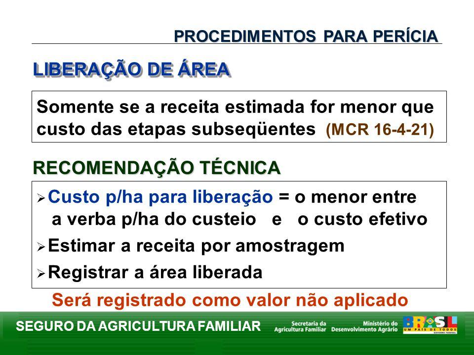 SEGURO DA AGRICULTURA FAMILIAR Somente se a receita estimada for menor que custo das etapas subseqüentes (MCR 16-4-21) LIBERAÇÃO DE ÁREA PROCEDIMENTOS