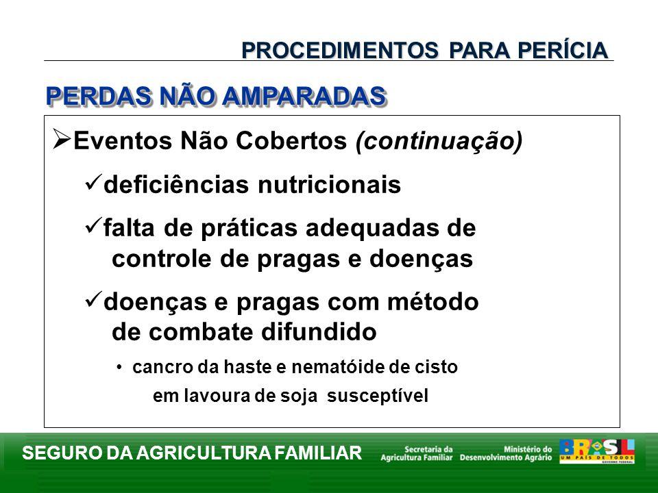 SEGURO DA AGRICULTURA FAMILIAR Eventos Não Cobertos (continuação) deficiências nutricionais falta de práticas adequadas de controle de pragas e doença
