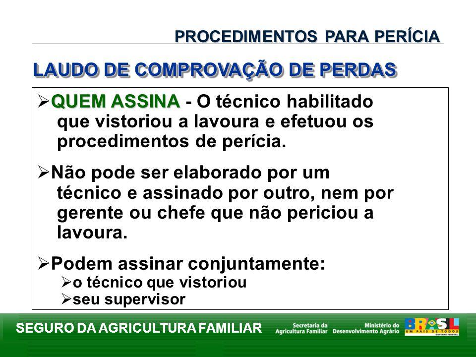 SEGURO DA AGRICULTURA FAMILIAR QUEM ASSINA QUEM ASSINA - O técnico habilitado que vistoriou a lavoura e efetuou os procedimentos de perícia. Não pode