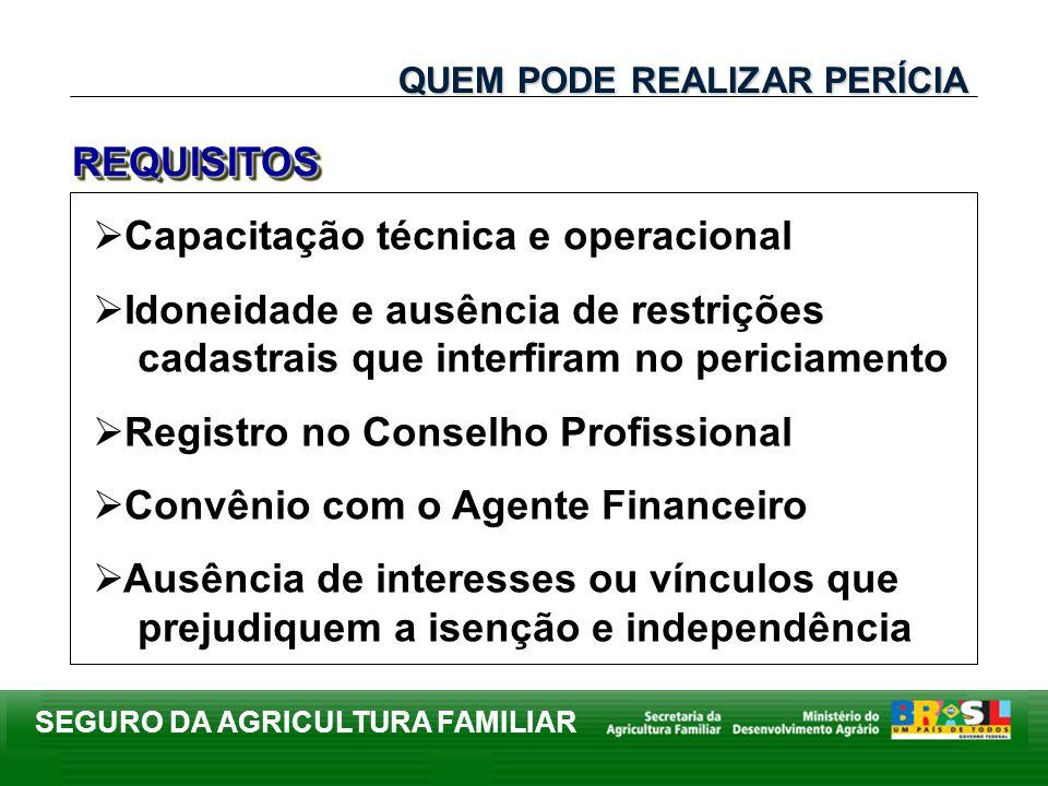 SEGURO DA AGRICULTURA FAMILIAR Capacitação técnica e operacional Idoneidade e ausência de restrições cadastrais que interfiram no periciamento Registr
