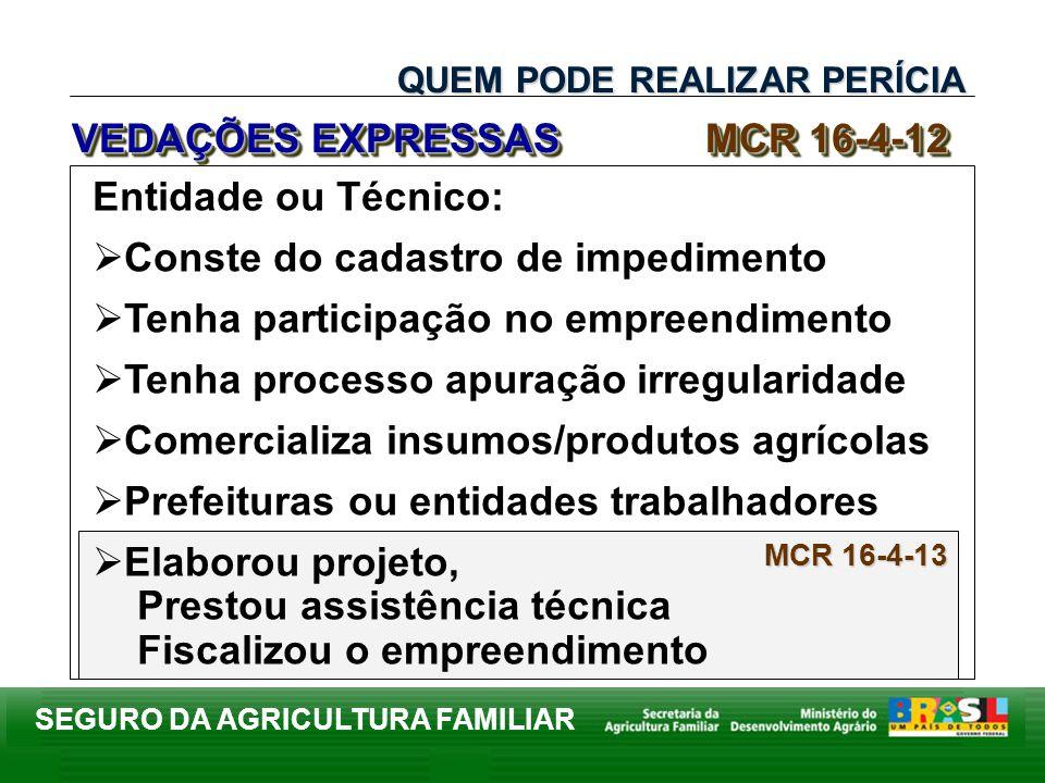 SEGURO DA AGRICULTURA FAMILIAR MCR 16-4-13 Entidade ou Técnico: Conste do cadastro de impedimento Tenha participação no empreendimento Tenha processo